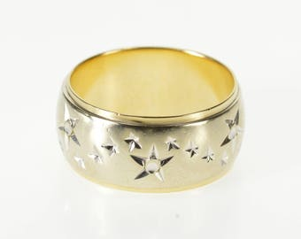 14K Wavy Star Patterned Rounded Two Tone Band Ring Size 7.5 White Gold