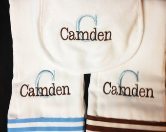 Monogrammed  Burp Cloth and Bib 3 piece Set Custom- Personalized