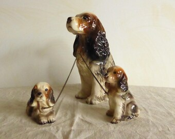 Vintage Spaniel Mommy and Two Pups porcelain Family  Made in Japan by KIC (3) Dog and Puppies
