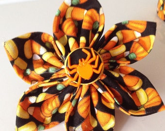 Halloween Dog and Cat Collar Flower with Candy Corn, Pumpkins and a Spider