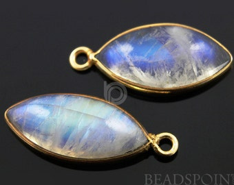 Natural Rainbow Moonstone Faceted Bezel Marquise, Gold Vermeil,  Incredible Blue Fire,10x24mm,1 Piece, (RNM10x24)