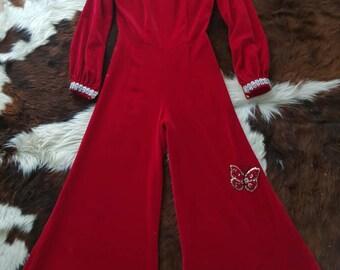 Stunning 60s red velvet palazzo pants jumpsuit