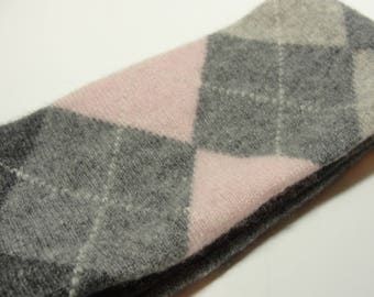 Upcycled Purple and Gray Argyle Cashmere Earwarmer Headband with Bow
