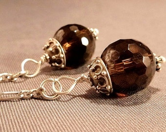 Princess crystal ball earrings grey smokey quartz crystals hanging from sterling silver chains OOAK jewelry