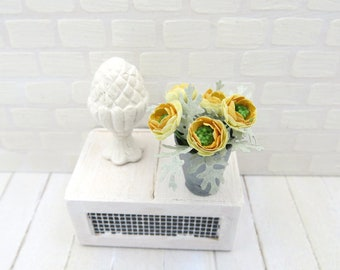Yellow ranunculus in vase for dollhouse in 1:12 scale