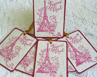 Joyeux Noel Tags - Christmas Gift Tags - Set of 6 Stamped French Merry Christmas Holiday Tags - Rustic Tags Paris Eiffel Tower