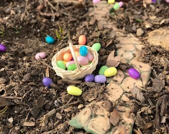 Fairy Garden or Dollhouse Loose Easter eggs handmade polymer miniatures