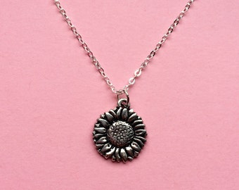 Flower necklace - Silver sunflower charm necklace - Garden jewelry - Spring nature jewelry - UK seller
