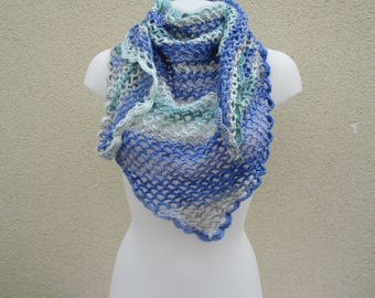 chale, hand-made blue crochet