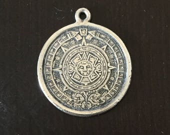 Vintage Sterling Silver Aztec Symbol Pendant - Made in Taxco, Mexico
