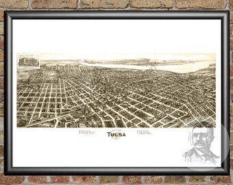 Tulsa, Oklahoma Art Print From 1918 - Digitally Restored Old Tulsa, OK Map Poster - Perfect For Fans Of Oklahoma History