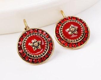 Vintage bohemian red earrings Vintage Jewelry Vintage Christmas earrings Wife gift Mother's gift Red crystal earrings Rhinestone earrings
