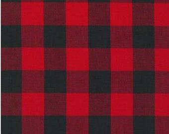 Buffalo Plaid in Red and Black Checks 1 Inch Checkers Robert Kaufman Fabric Carolina Gingham Lumberjack NOT Fleece NOT Flannel