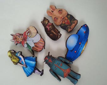 Lucky dip, party bag filler, 6 brooches, wooden, mix, Rabbit, cat, Alice, space ship, robot, whimsical, by NewellsJewels on etsy