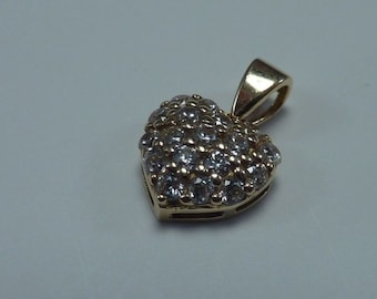 14K Yellow Gold Heart Pendant with Cubic Zirconias