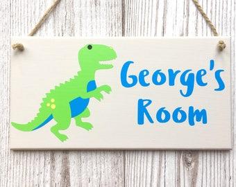 Dinosaur Personalised Door Sign ~ Kids Door Plaque ~ Children's Bedroom Plaque ~ Kids Door Hanger ~ Custom Name Sign ~ Kids Room Sign