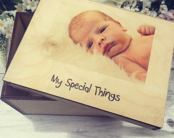 Personalised Baby Keepsakes Photo Wood Memory Box