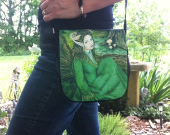 Lady of the Forest Small Shoulder Bag With Changeable Hand Pressed Flap