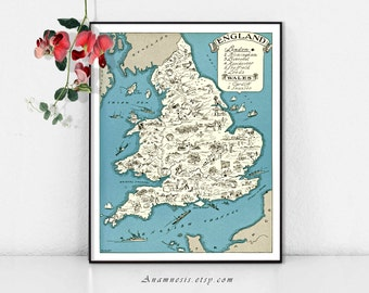MAP OF ENGLAND - Instant Digital Download - printable vintage picture map for framing, totes, t-shirts, mugs, cards - fun retro map art