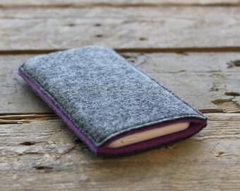 100% Wool Felt iPhone Sleeve/Case/Cover - Mottled Dark Grey and Purple
