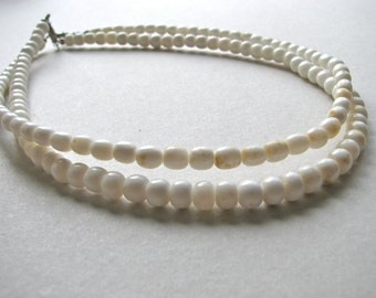 Glass beads, white glass roundels, 6 by 5mm, 72 beads - # 196