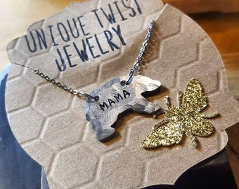Handstamped Mama Bear Necklace