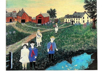 Grandma Moses - All Dressed Up for Sunday - 1991 Vintage Print - Large 10.5 x 14
