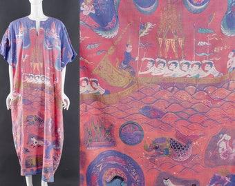 70's KAFTAN Dress Psychedelic Caftan Maxi Dress EASTERN ENLIGHTENMENT Festival Dress Block Print Art Print Bohemian Dress One Size Fits All