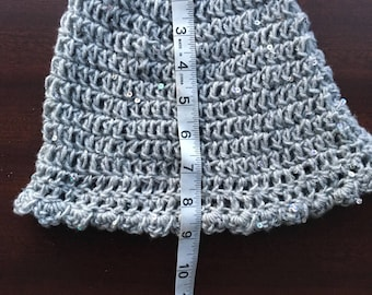 Gray sparkly hat