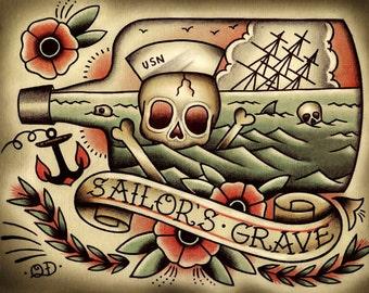 Death by Sea Tattoo Print