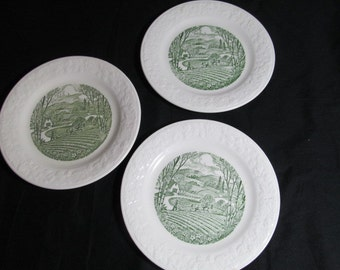bread and butter plate Homer Laughlin Pastoral s Spring plowing B58N6 lot of 3 vintage 1950s