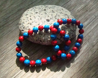 Crimson and Blue sport fan bracelet jewelry