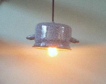 "Upcycled lamp, made from old Dutch ""wolked grey"" enamel saucepan. Vintage. Light. Lightning. Handmade. Dutch Design. Brocante."