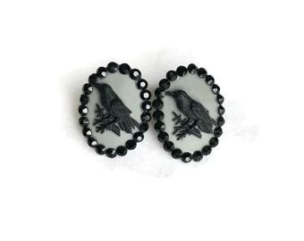 Gray and Black Crow Cameo Earrings - Vintage Style - Bird, Raven - Pinup, Retro, Vintage Style - Nickel Free - Handmade in USA