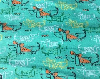 Fancy Weiner Dogs, Dachshund in Orange, Cotton Fabric, Sold by the Yard, 100% Cotton