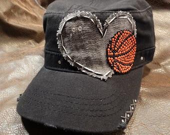 I Heart Basketball Distressed Cadet Hat