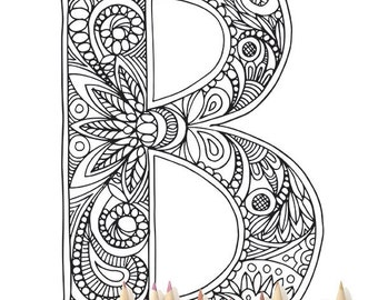 "Adult Colouring Page Alphabet Letter ""B"""