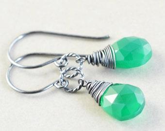 Green Onyx Dangle Earrings, Emerald Green Earrings, Handmade