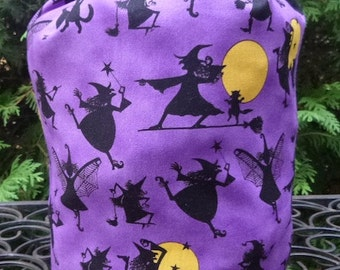 Witch Drawstring bag, WIP bag, knitting project bag, Playful Witches, Suebee