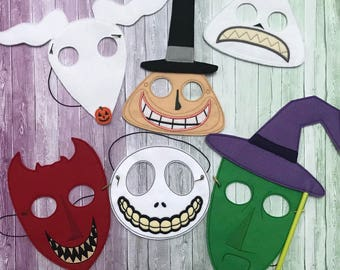Nightmare before christmas, Jack, Sally, Zero, Mayor, Lock, Shock and Barrel, Dress Up Mask, Pretend Play, Costume, Cosplay, Party Favor - R