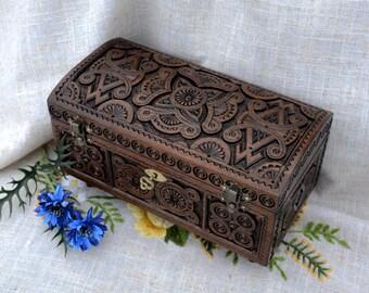 Jewelry box Ring box Wooden box Lock box Wood carving Jewellery box Wooden jewelry box Jewelry organizer Jewelry box wood Wooden boxes B25
