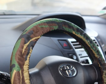 Military steering wheel cover, men's and women's car accessory, automobile wheel cover, car decor – car gift idea for her, for him