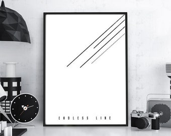 Geometric Art Typographic Print - Endless Line -Black and White Wall Decor Minimalist Geometric Art Gift Idea Scandinavian Nordic Poster Art