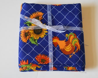 Rooster Sunflower Heavy Broadcloth, Country Kitchen Fabric, Blue Broadcloth