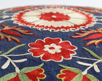 Embroidery blue floral suzani pillow cover