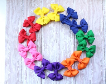 Solid color hair bows, mini solid color hair bows, mini pigtail hair bows, rainbow collection hair bows