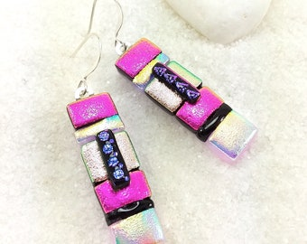 Dichroic glass  Earrings, fused glass earrings, pink earrings, Dichroic earrings, statement earrings, trending now, dichroic glass jewelry