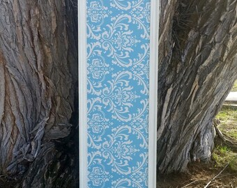 Large Blue Damask Covered Magnet Board with Ivory Vintage-Style Frame - Tall Fabric Covered Magnet Board - Kitchen Magnetic Board