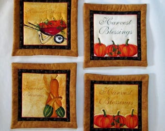 """Quilted Hot Pads with Pumpkins & Squash in Caramel Gold, Orange and Yellow.  9"""" x 9"""" great as Rug Mug,Hostess Gift or Potholder"""