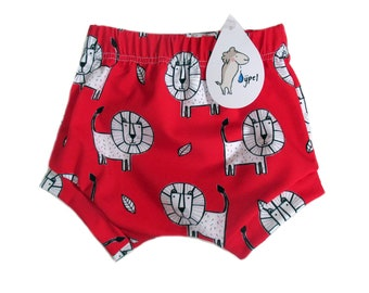 baby bloomers short red lion, BIO-cotton , choose your size